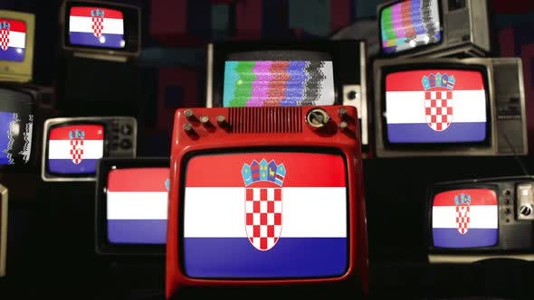 Croatian Flags and Vintage Televisions.