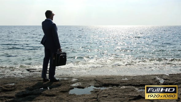 Thumbnail for Business Man Waiting At The Seaside