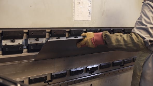 Thumbnail for Operator Bending Metal Sheet By Sheet Bending Machine