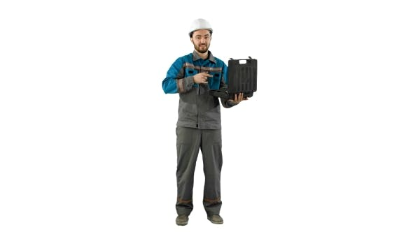 Thumbnail for Handyman Prepared For Any Eventuality Shows Tools On Camera On White Background.