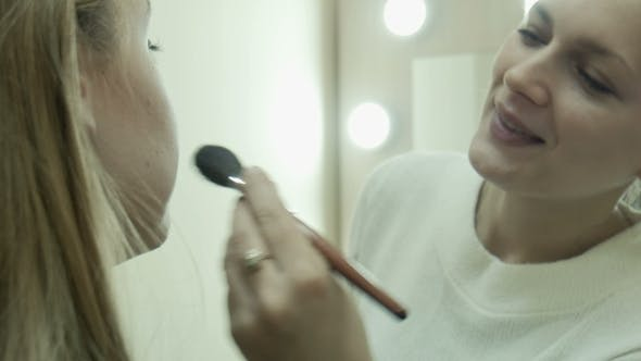 Thumbnail for The Makeup Artist Applying Powder Using Brush