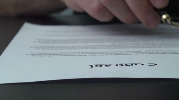 Thumbnail for Signing Official Document With a Blue Ink Pen.