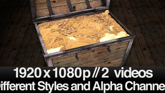 Treasure Chest Opening Filled with Gold - 2 Styles