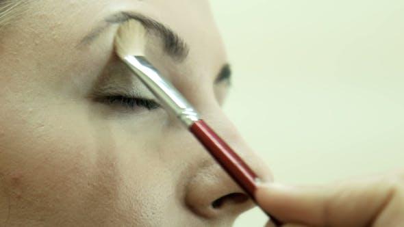 Thumbnail for Applying Powder Using Brush On Eyelid