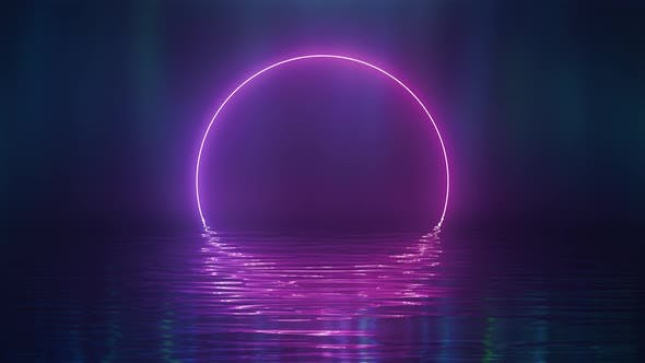 Thumbnail for Shining Pink Neon Circle Over Water