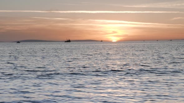 Thumbnail for Trawler and Boats Fishing at Sunset