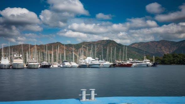 Yacht Marina With Cloudy Sky