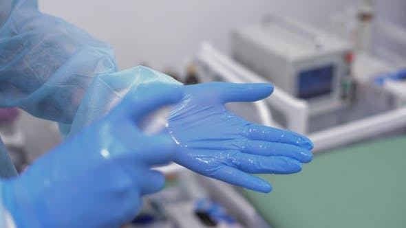 Thumbnail for Doctor Disinfect Latex Gloves With Spray. Medicine And Health Concept