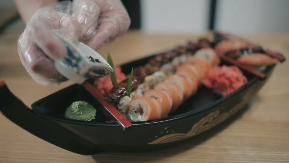 Thumbnail for Final Touch In The Preparation Of Sushi Rolls