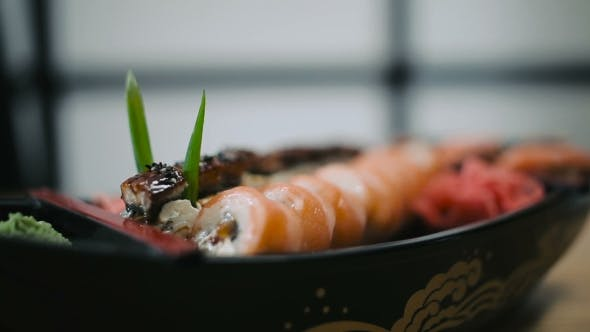Thumbnail for Sushi Rolls Laid Out On a Plate