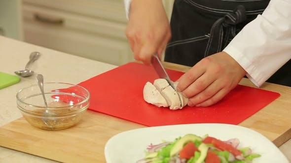 Thumbnail for Chef Cutting Boiled Chicken Fillet For Salad