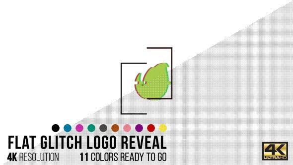 Flat Glitch Logo Reveal