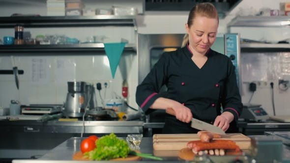 Thumbnail for Chef Cutting Sausages