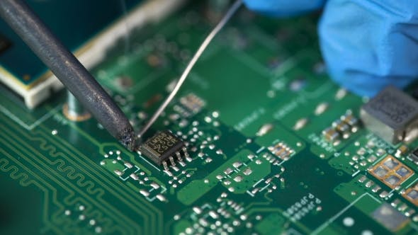 Thumbnail for Electronic Lab Working Place With Soldering Iron And Circuit Board