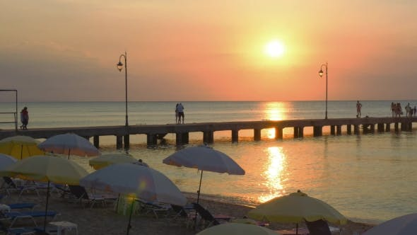 Thumbnail for Pier On a Beach Resort At Sunset