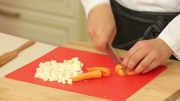 Thumbnail for Chopping Carrot Into Cubes