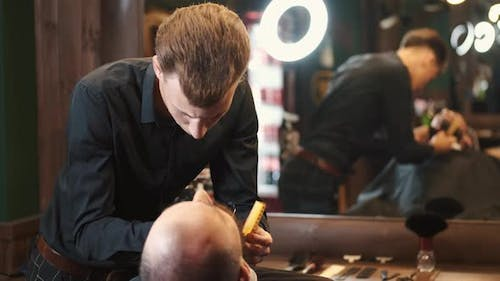 Adult Man with Beard in a Barber Shop