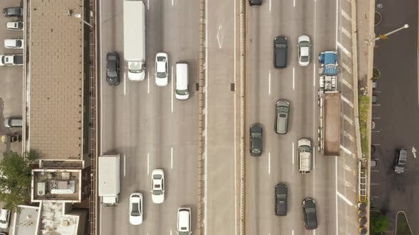 Thumbnail for Birds Eye View of Highway with Busy Car Traffic on Grey Day New York City