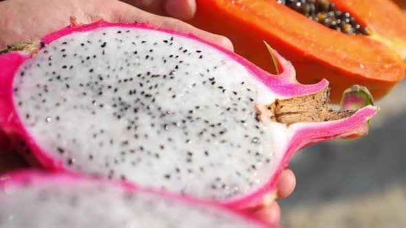 Thumbnail for Fresh Tropical Fruits Closeup. Dragon Fruit Pitaya And Papaya