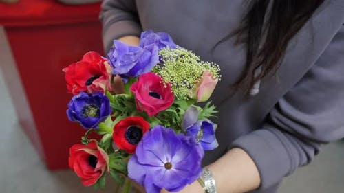 Female Hands Holding Flowers Bouquet From Colorful Poppy Top View