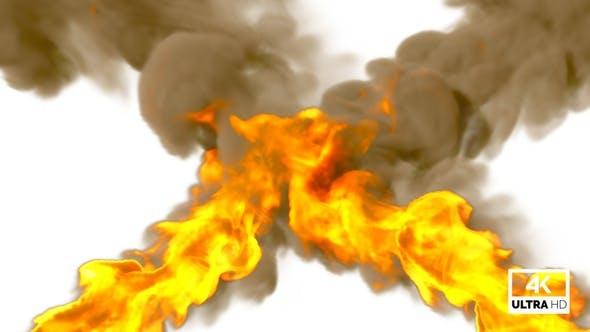 Huge Blaze Fire Flames Stream With Dust