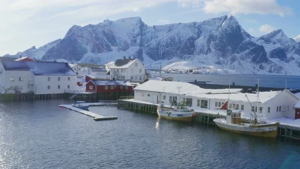 Cover Image for Norwegian Winter Landscape With The Multicolored Rorbu And Fishing Ships