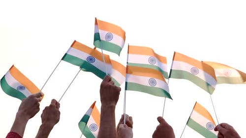 People Holding Indian Flags
