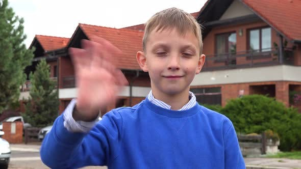 Thumbnail for A Young Boy Smiles and Waves at the Camera in a Suburban Street