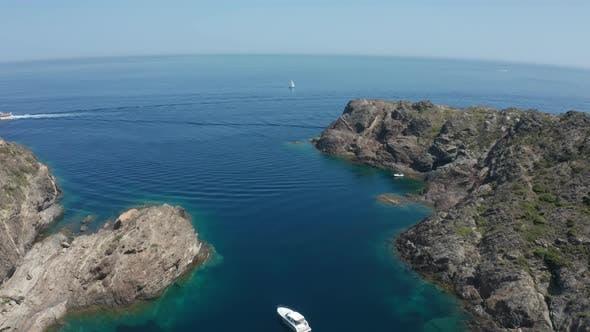 Thumbnail for Aerial Shot of Sailboat in Blue Mediterranean Sea