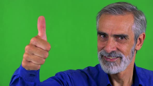 Thumbnail for Old Senior Man Shows Thumb Up on Agreement - Green Screen - Studio - Closeup