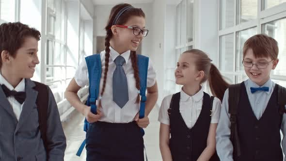 Thumbnail for Schoolchildren Talking After Lessons in Hallway