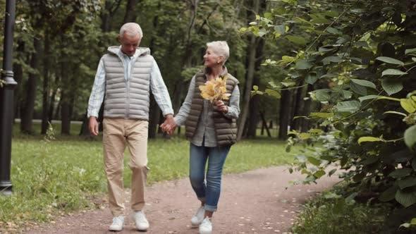 Thumbnail for Senioren wandern im Herbstpark