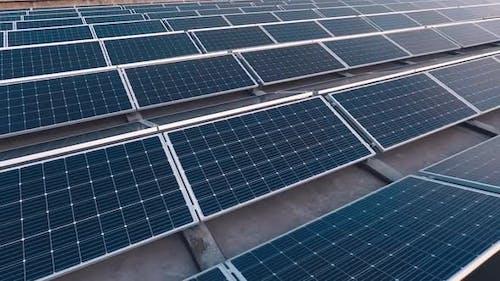 Many modern photovoltaic panels on the solar farm