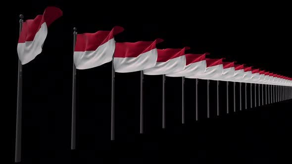 Row Of Indonesia Flags With Alpha 2K