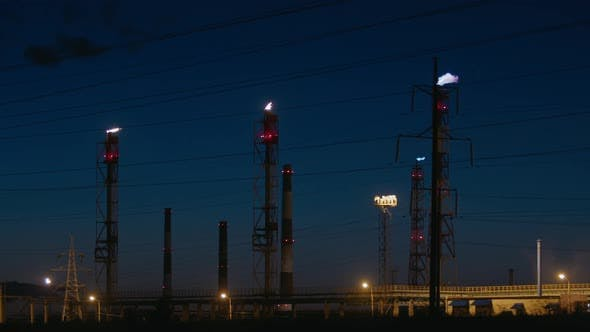 Night View of the Gas Flare at an Oil Refinery