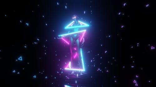 80s Retro Vaporwave Statue And Neon Light