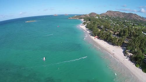 Aerial view of Kailua Beach, Oahu, Hawaii, USA