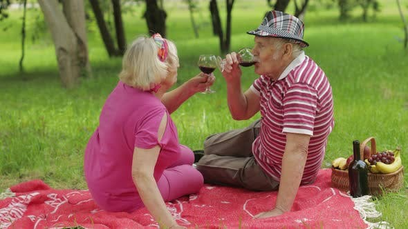 Thumbnail for Family Weekend Picnic in Park. Senior Old Couple Sit on Blanket and Drink Wine. Making a Kiss. Love