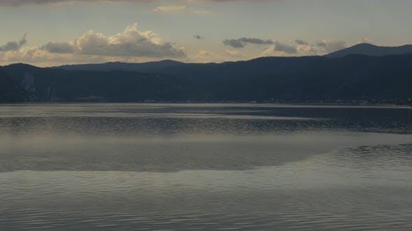 Thumbnail for Danube river beautiful  scenery before sunset 4K 3840X2160 UHD video - Tranquil   scene on river Dan