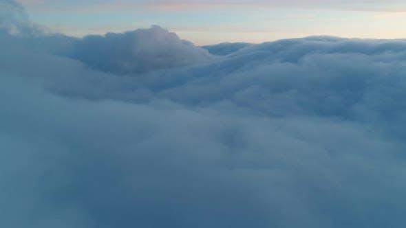 Aerial View of Magical Blue Cumulus Clouds