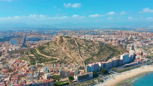 Thumbnail for Alicante Spain Aerial View on the City Against the Sea with a View of the Mountain and Fortress