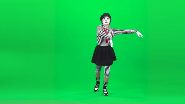 Thumbnail for Mime Girl Is Skating on Ice. Chroma Key. Full Length.