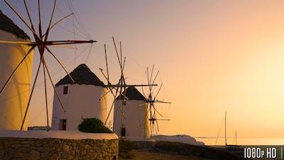 Mykonos Greek Island Windmills at Sunset