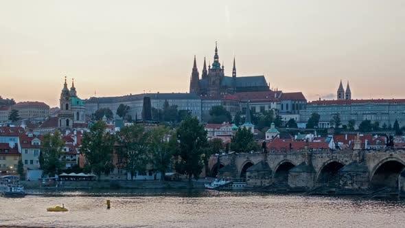 Thumbnail for Charles Bridge Over the River Vitava, Czech Republic at Sunset