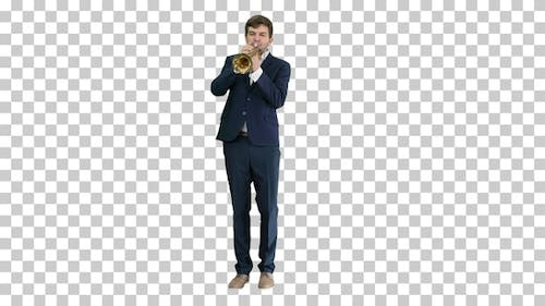 Young man in suit playing a trumpet, Alpha Channel
