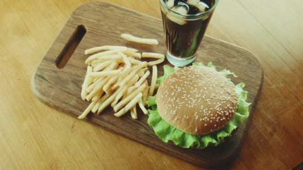 Thumbnail for Hamburger a Sandwich And French Fries On a Tray