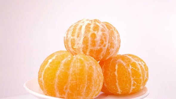 Thumbnail for Tangerines Rotation On a White Background