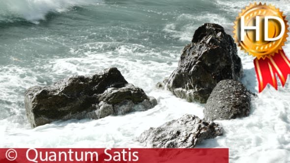 Thumbnail for Close-Up of Storm Surf With Black Rocks