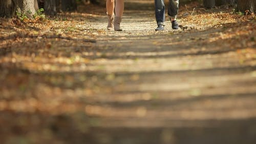 Woman And Man Walking On Footpath In Autumn
