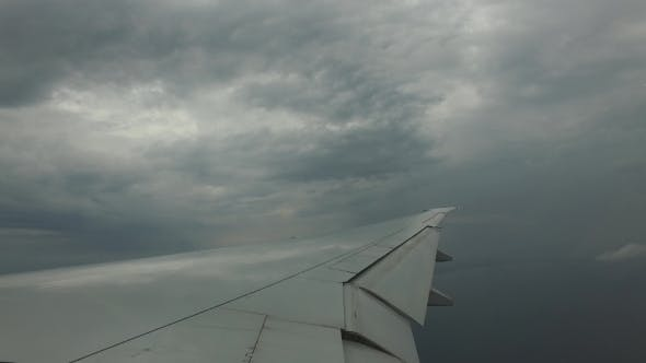 Wing Of Airplane Flying In Blue Sky 18
